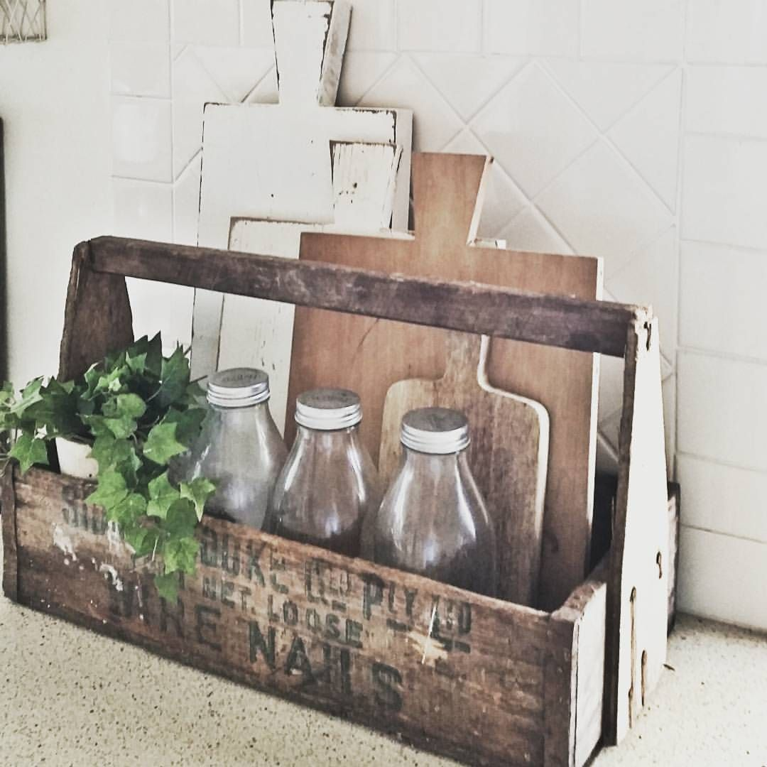 Vintage Wooden Tool Box Caddy Upcycle Decor Rustic Elegance