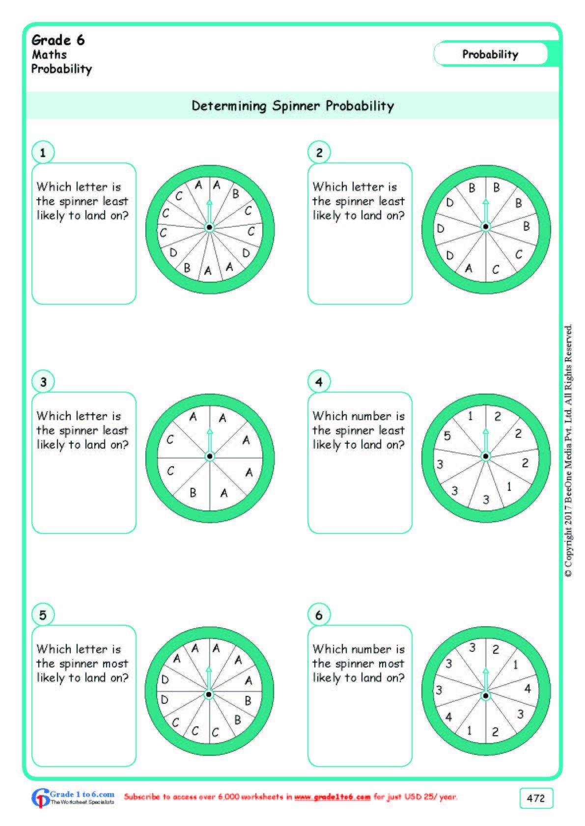 Worksheet Grade 6 Math Determining Spinner Probability In
