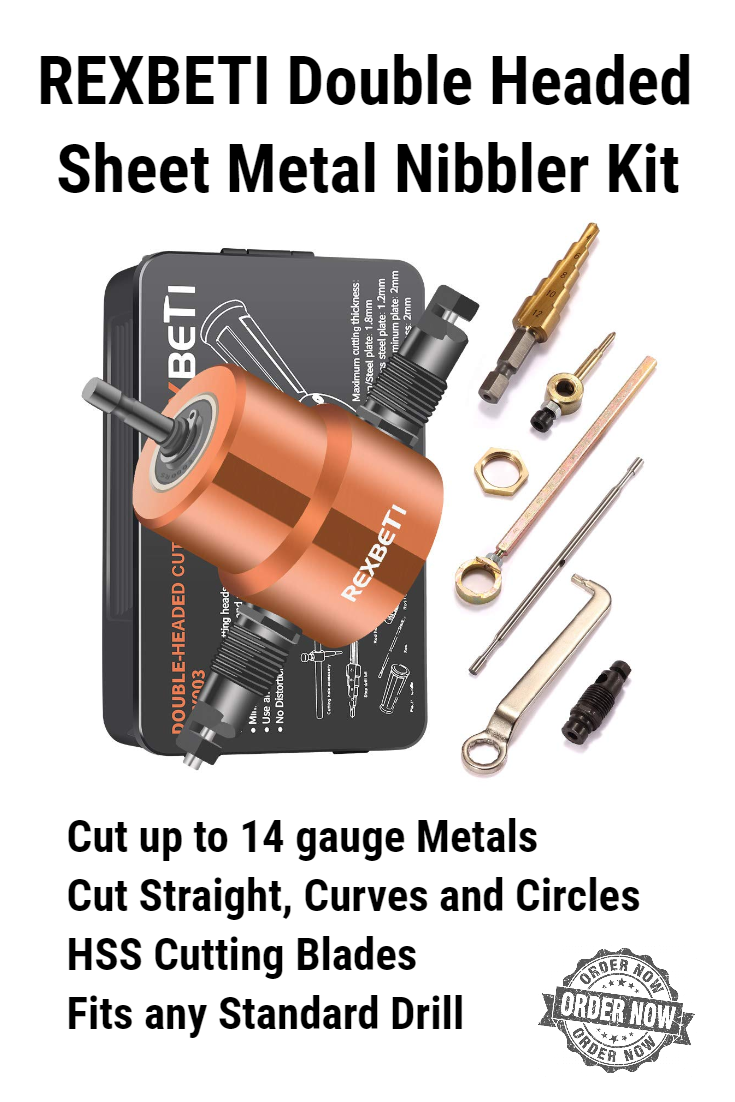 Rexbeti Double Headed Sheet Metal Nibbler Drill Attachment Kit In 2020 Sheet Metal Drill Metal