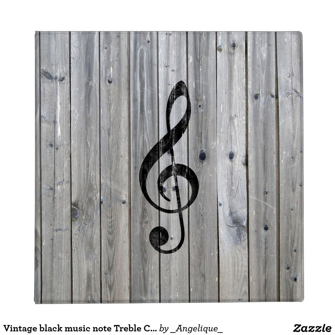 Vintage Black Music Note Treble Clef Gray Wood 3 Ring Binder