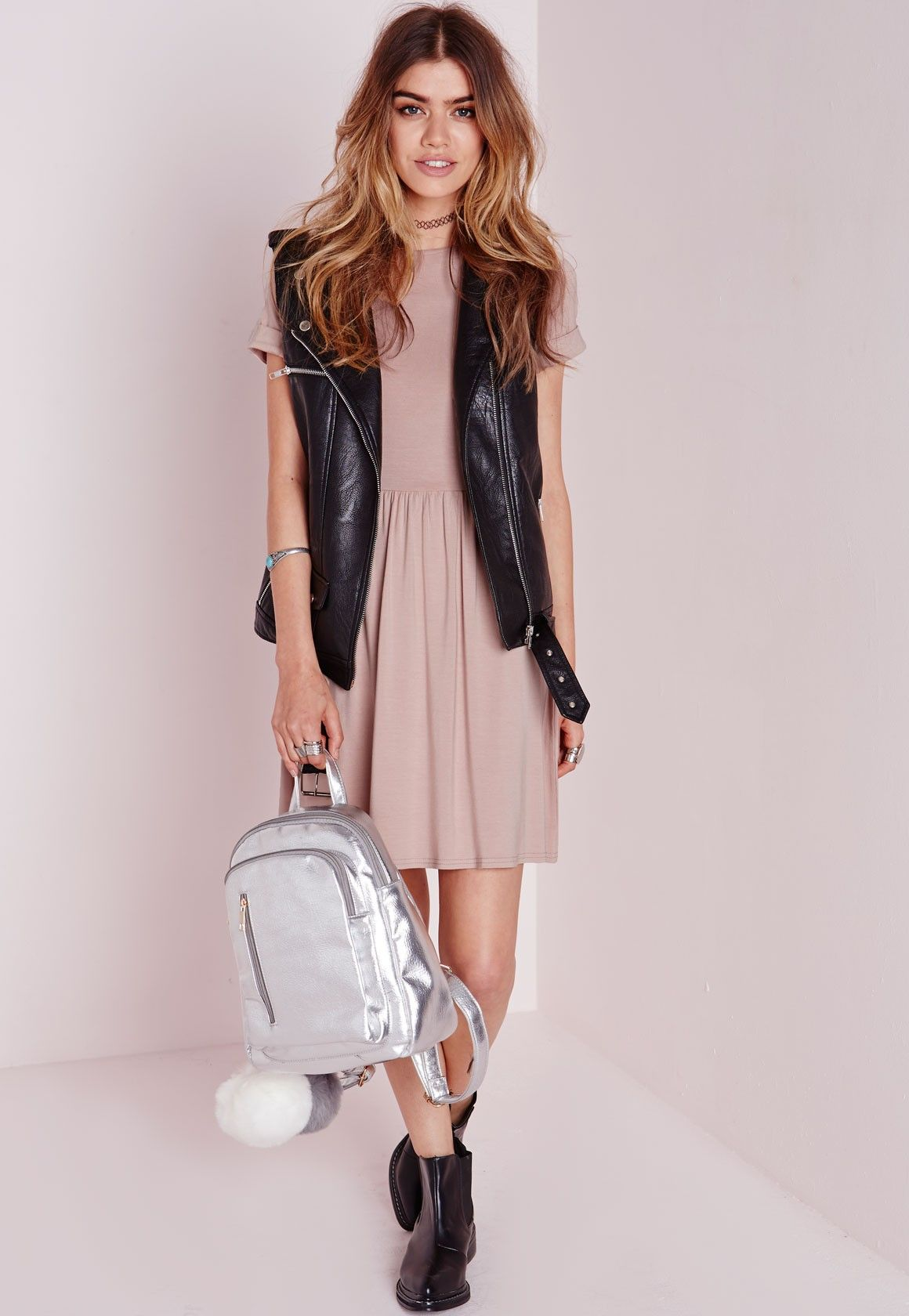 eadcfd5df92c Missguided - Jersey T-Shirt Skater Dress Nude