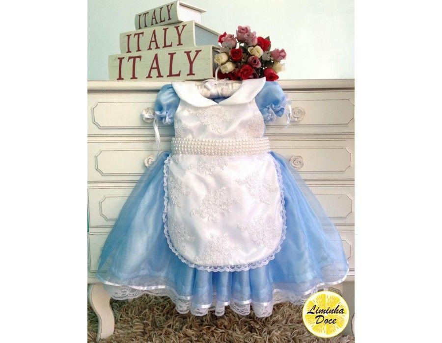 Vestido Alice No Pais Das Maravilhas Alta Costura Infantil