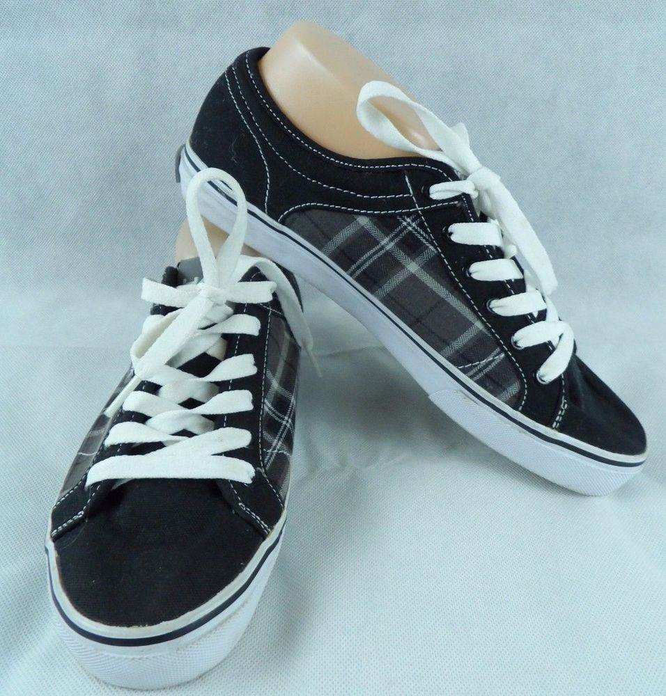 Men Tommy Hilfiger Sneakers Shoes Black/White Part Plaid Size 10  #TommyHilfiger #FashionSneakers