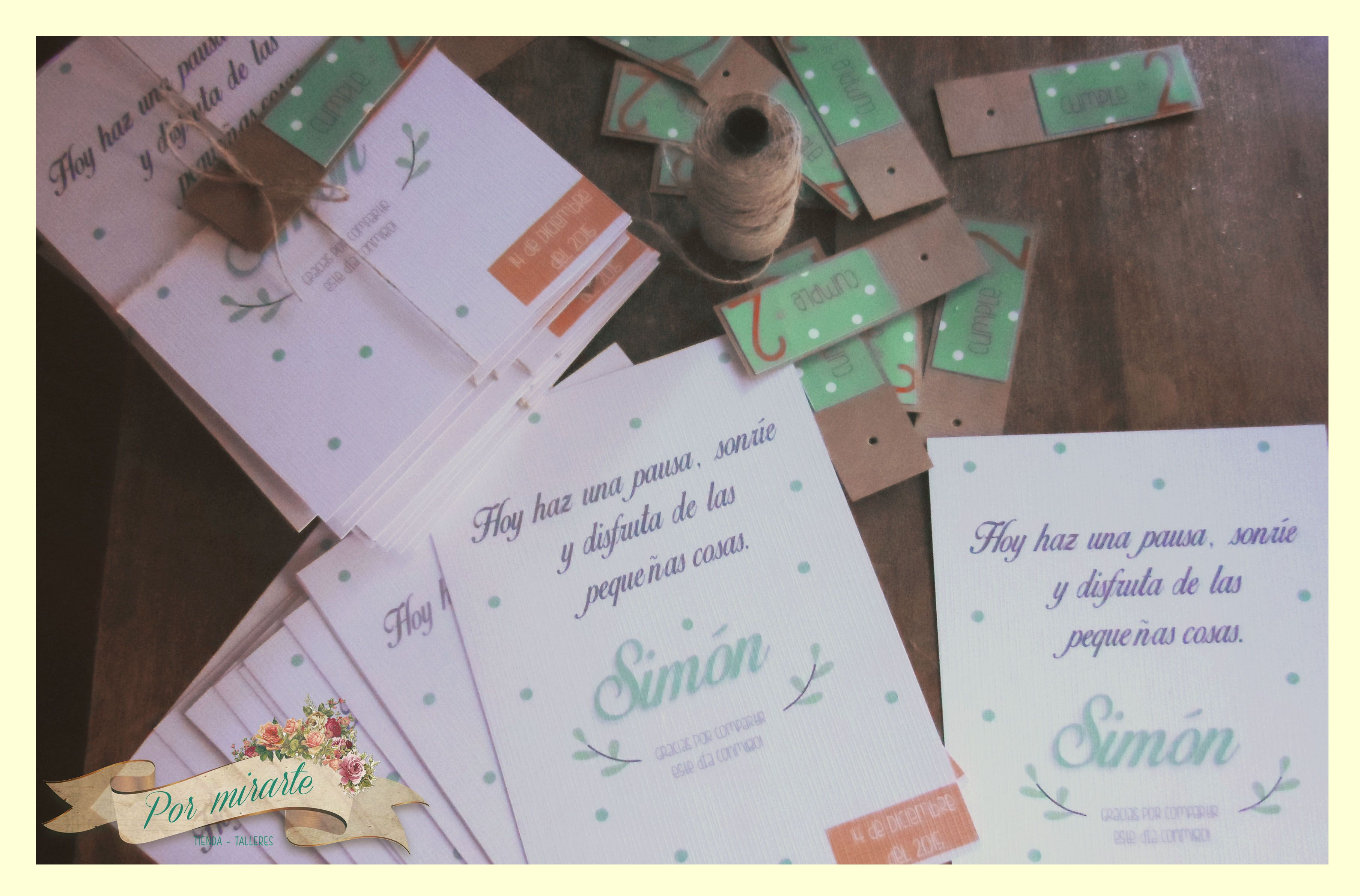 Souvenirs para el cumple de Simón - Tarjetones de recuerdo.