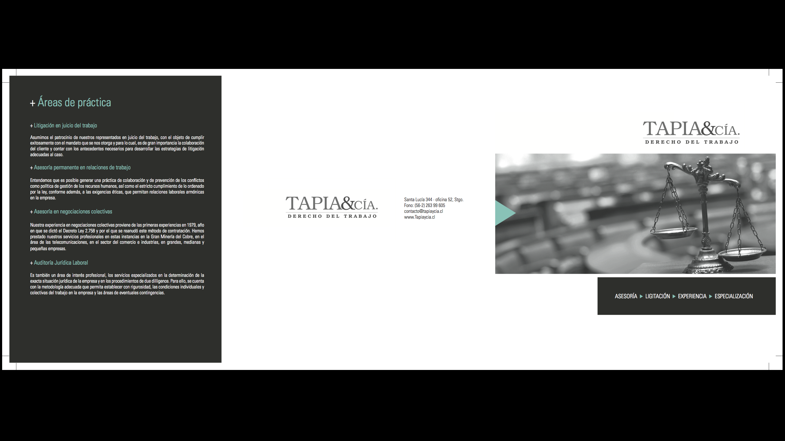 Diseño tríptico abogados http://www.tapiaycia.cl/ brochure, triptico
