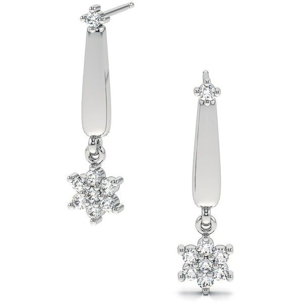 .18ctw Long Drop Flower Round Diamond Stud Earrings in 14k White Gold... (£390) ❤ liked on Polyvore featuring jewelry, earrings, white gold diamond earrings, 18k white gold earrings, flower earrings, diamond stud earrings and round stud earrings