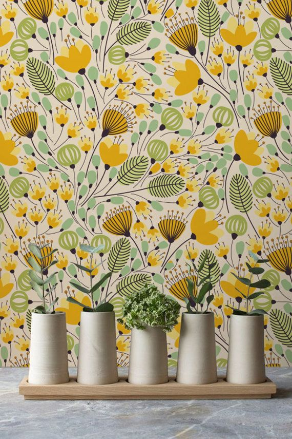 Wallpaper With Yellow Flowers And Botanical Prints Floral Etsy Wallpaper Removable Wallpaper Pattern Wallpaper