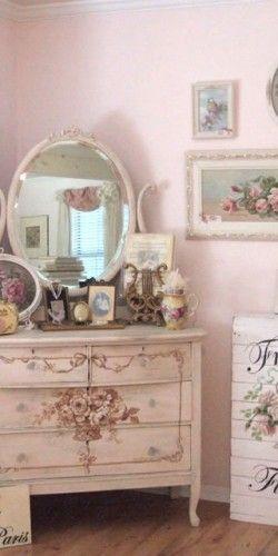 Shabby Chic Decor Floral Decoupage Vintage Dresser Cottage Victorian