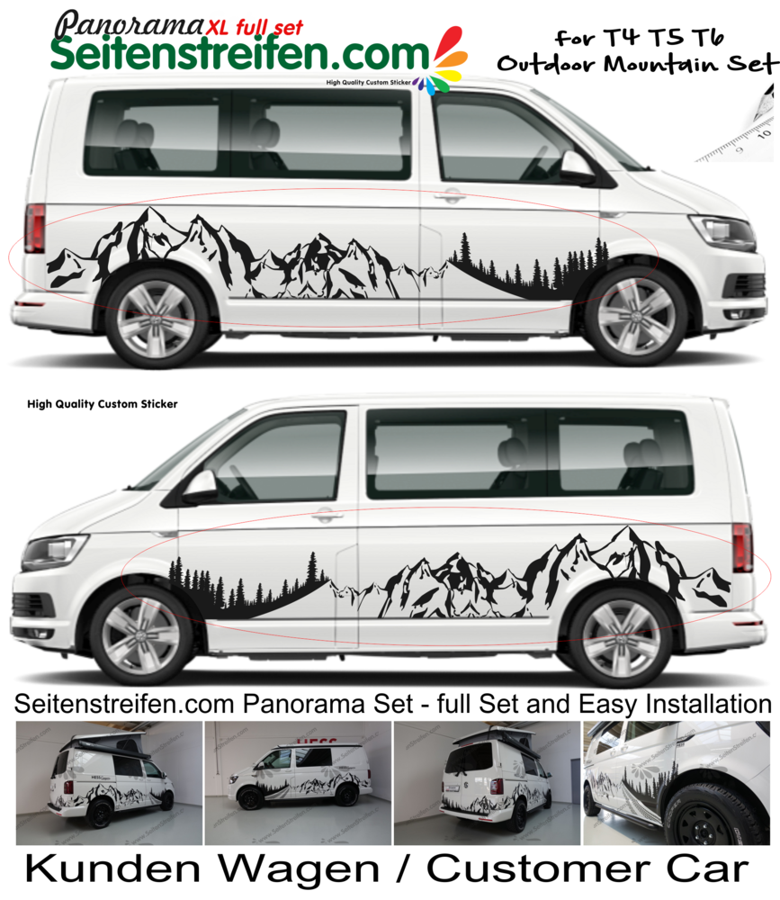 Vw bus t4 t5 t6 mountain edition mountain panorama mountain outdoor sports decal xxl set 3000
