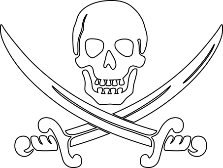Pirate Skull Outline Sword Skull Template Skull Coloring Pages Pirates