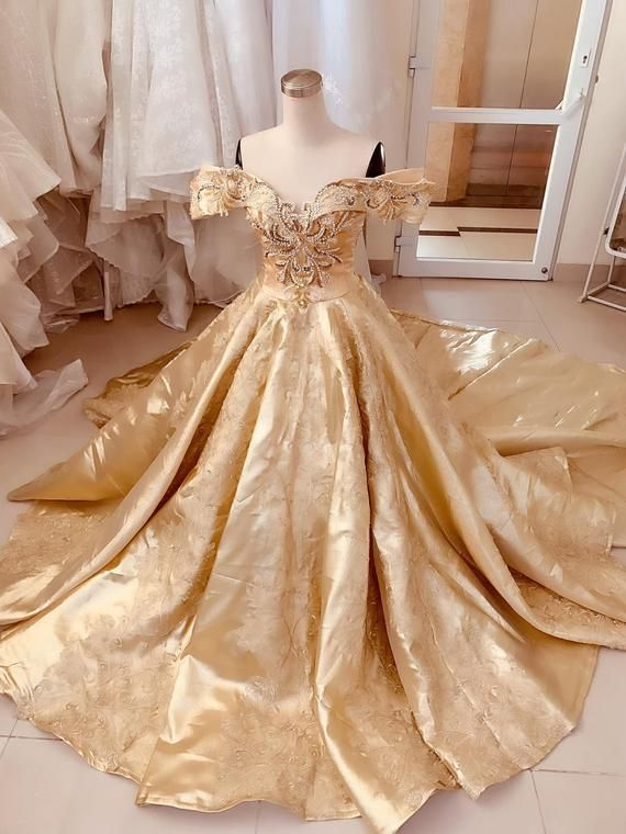 Unique Golden Princess Wedding Dress Made to Order