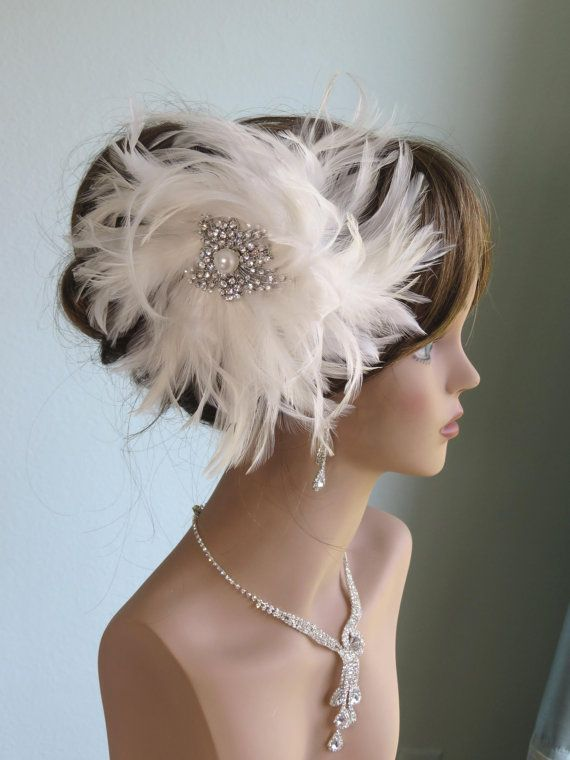 66c3fc10b9cc2 Wedding Accessory-Off White Feather Hair Clip And Pin-Bridal Accessory- Hair  Clip-Feathers-Crystal Brooch- on Etsy