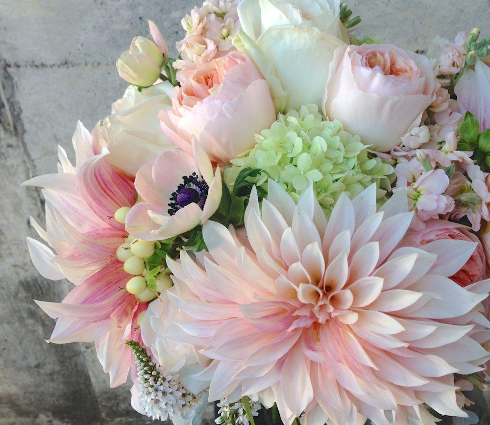 Wedding Bouquet Peach Blush Garden Rose Dahlia Soft