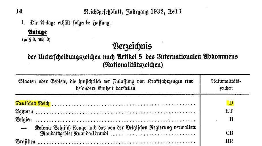 Autokennzeichen D für Deutsches Reich