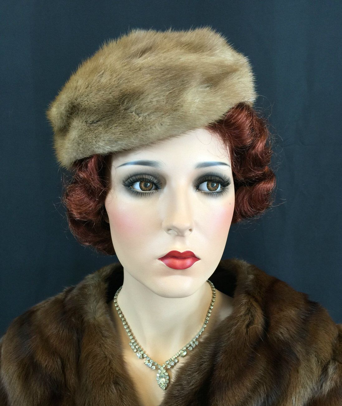 Items similar to CLOSING SHOP SALE Vintage 1950s Hat Mink Brown Fur Mink Beret 50s Topper Toque wool interior up to 23 head size 14-4 on Etsy