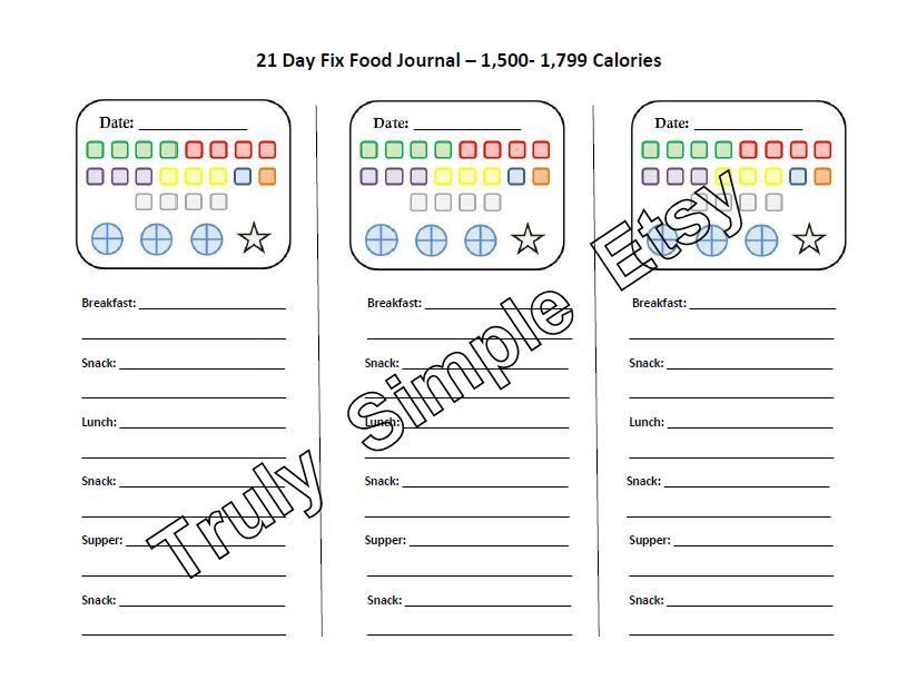 21 Day Fix Tally Sheet / 1,500 to 1,799 Calories / Beachbody Program / Journal / Food Water Exercise Tracker / Color Coded by TrulySimple on Etsy https://www.etsy.com/listing/190239657/21-day-fix-tally-sheet-1500-to-1799