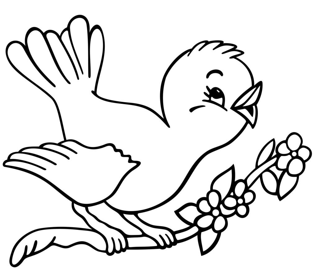 christmas tree with birds coloring page Beauty Bird