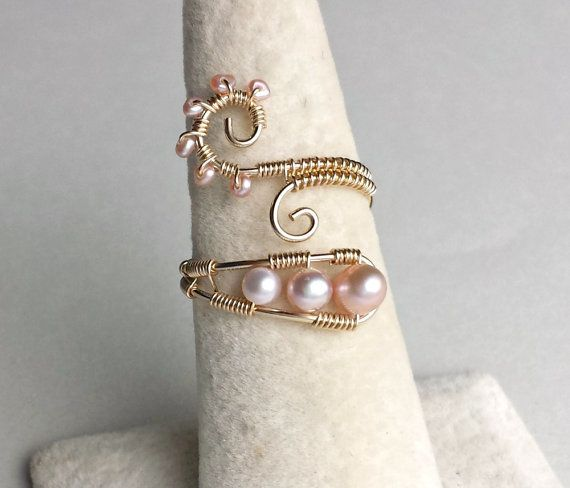 Pink Pearl Wire Ring Gold Filled Wire Wrapped by BellaAnelaJewelry ...