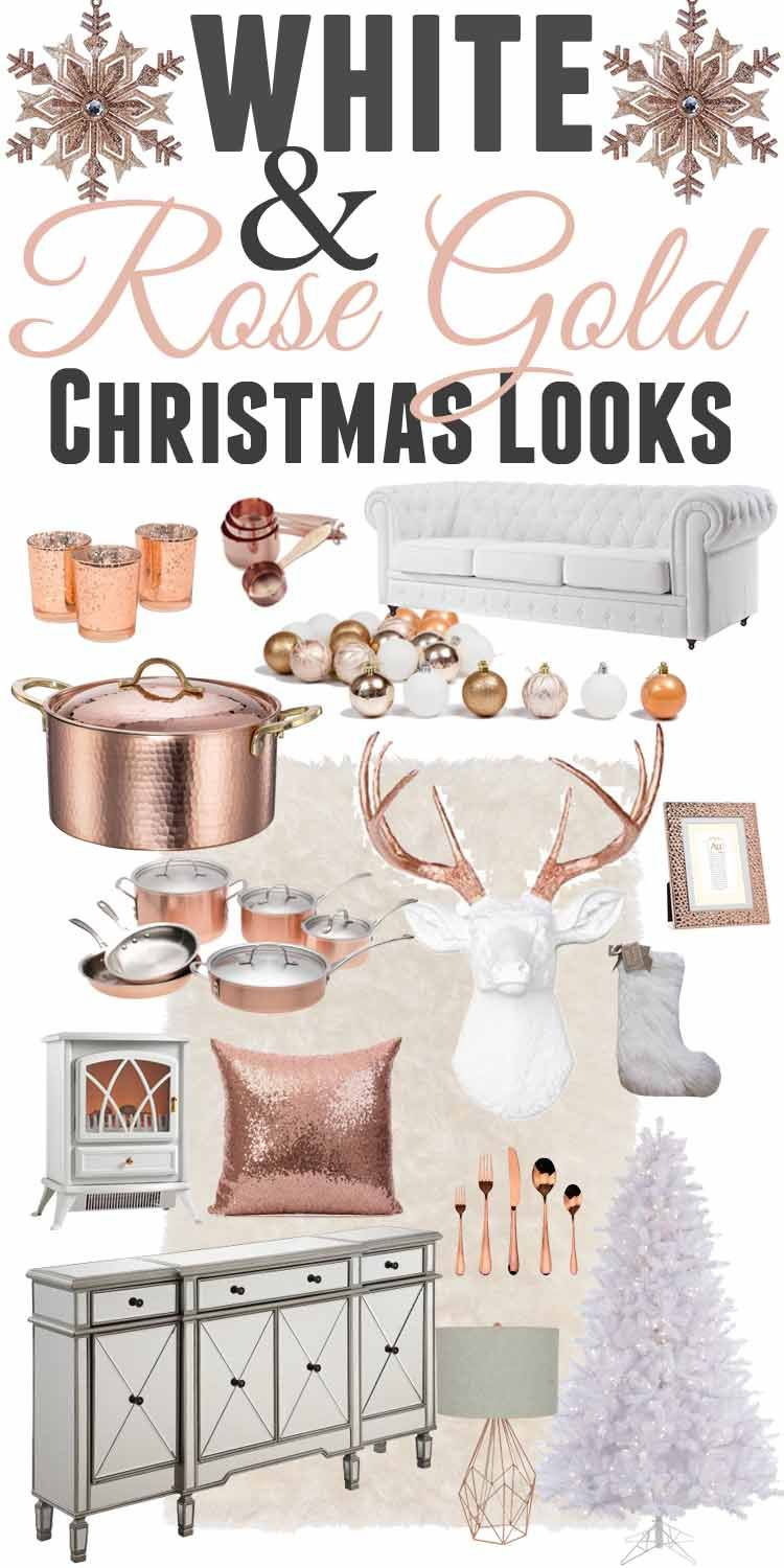 White and gold christmas decorating ideas - White Rose Gold Christmas Decor Ideas