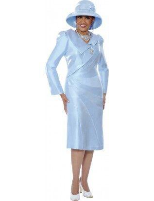 Powder blue suit with matching hat from Dorinda Clark Cole Rose collection.
