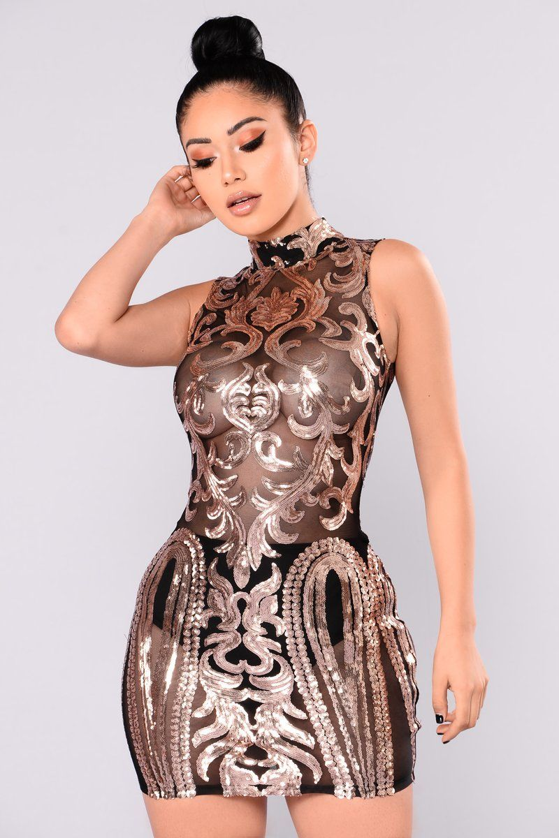 Attention sequin dress blackrose gold sexi pinterest