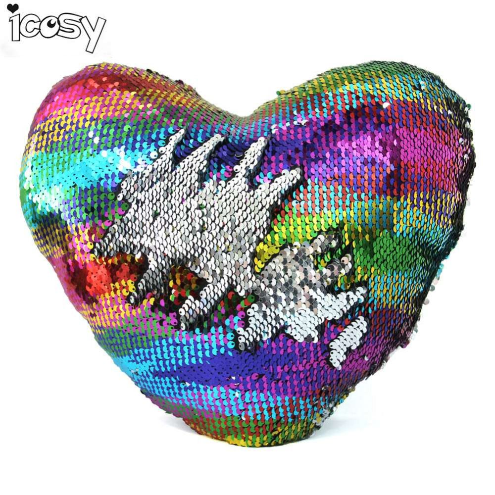 Click To Buy Heart Shaped Rainbow Color Mermaid Sequin Pillow Case Cover Decorative Pil Cushion Pillow Covers Mermaid Throw Pillows Mermaid Pillow Sequin