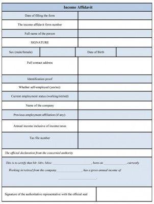 Income Affidavit Form - copy affidavit of birth uscis