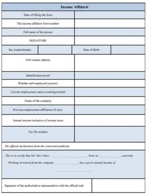 Income Affidavit Form
