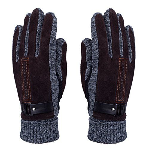 Mens Winter Leather Gloves Thick Warm Fleece Windproof Gloves Cold Proof Mittens