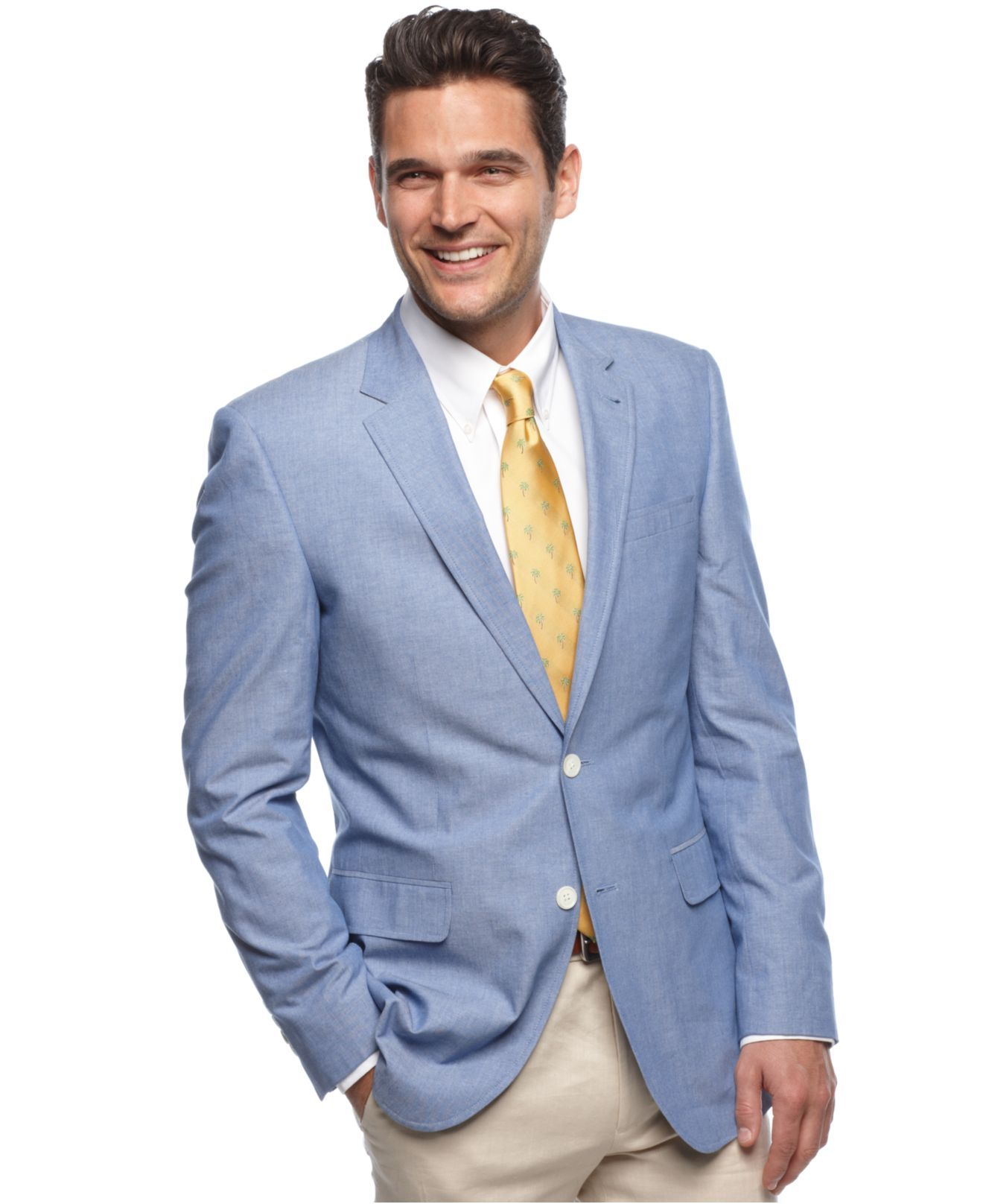 fe0be8fe4 Tommy Hilfiger Jacket, Blue Chambray Slim Fit Blazer - Mens Blazers ...