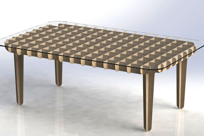 Flat pack coffee table autocad solidworks other 3d for Table flat design