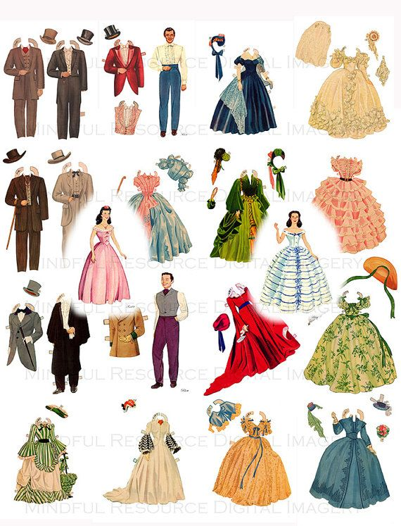 Gone with the Wind Printable Paper Dolls Hollywood Movie Memorabilia Scarlet O'Hara Rhett Butler Digital Download Scrapbooking Collage