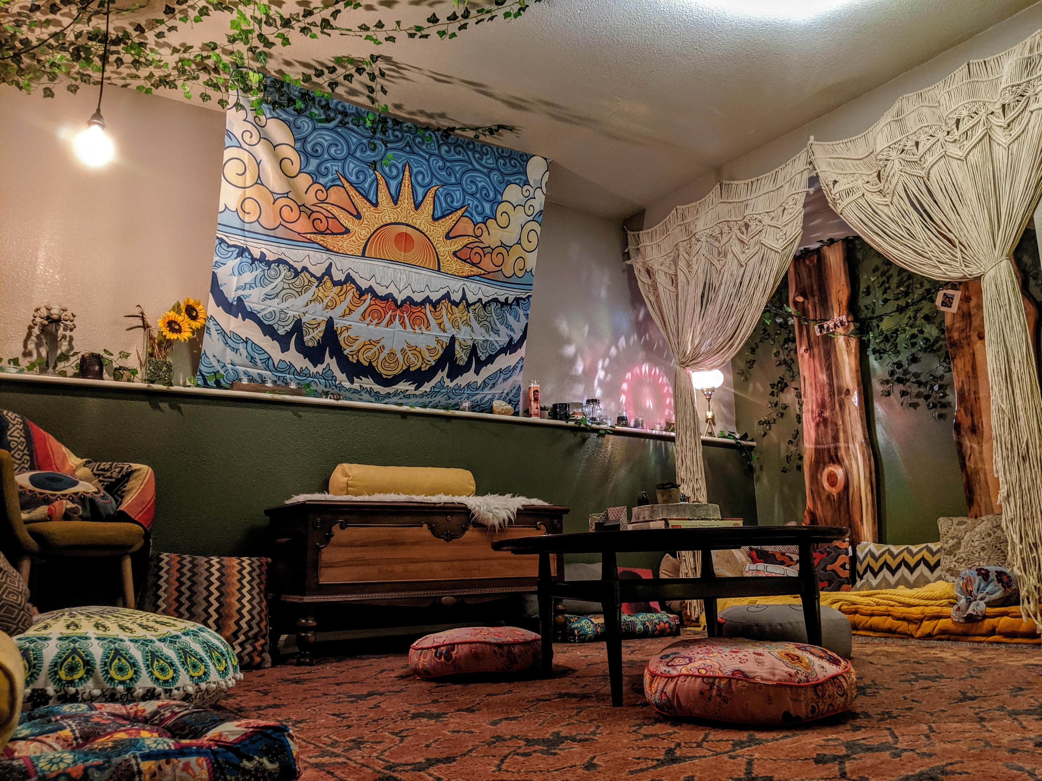 I M Pretty Happy With How Our Zen Den Turned Out 4032x3024 Check Out Desigedecors Com To Get More Inspir Zen Room Decor Meditation Room Decor Home Yoga Room