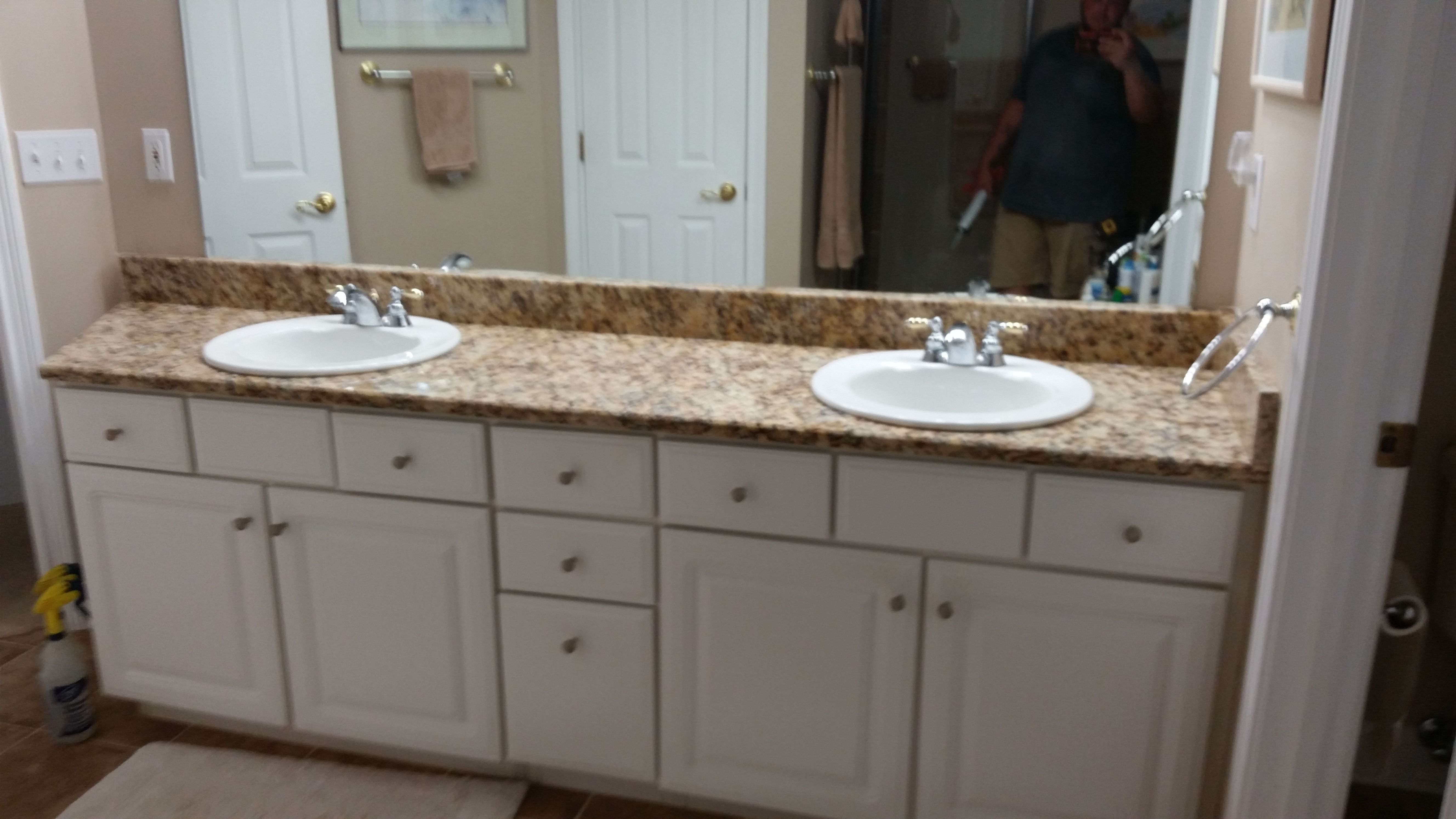 giallo napoli granite bathroom vanity install for the ballard family knoxvilles stone interiors showroom