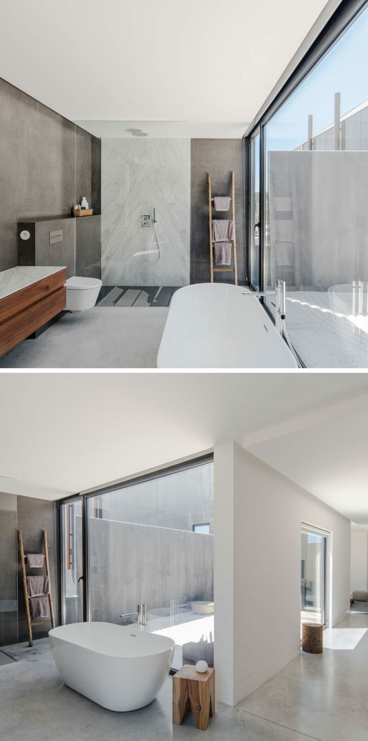 gro e fenster badezimmer freistehende badewanne holz grau future infections pinterest. Black Bedroom Furniture Sets. Home Design Ideas