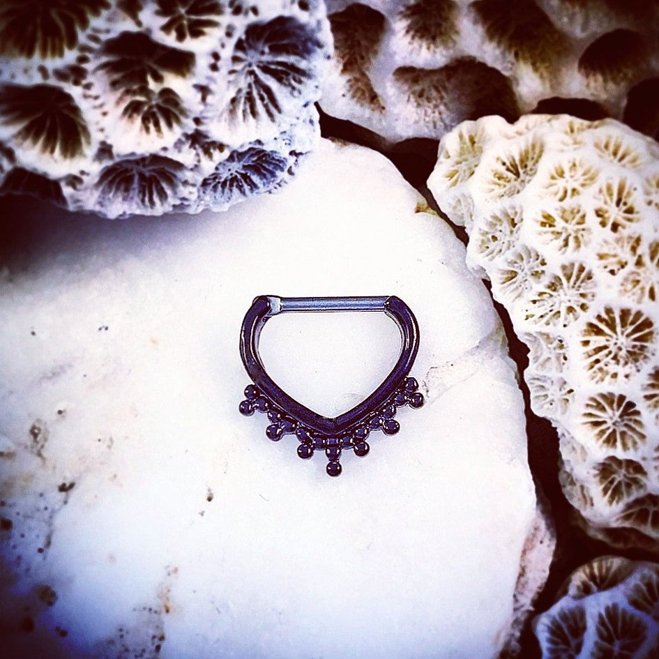 Black Droplet Hinged Septum Clicker Ring | 5/16 8mm Ring Nose ...