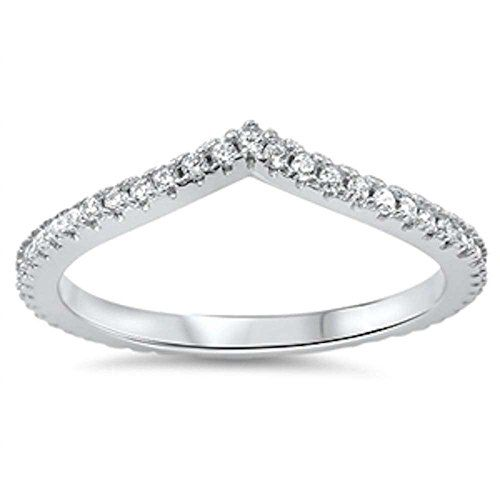 VShape Cubic Zirconia Band 925 Sterling Silver Ring Size 7 Oxford