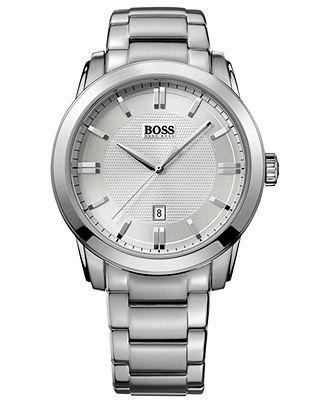 Hugo Boss Watch, Men's Stainless Steel Bracelet 44mm HB1017 1512768 - Men's Watches - Jewelry & Watches - Macy's
