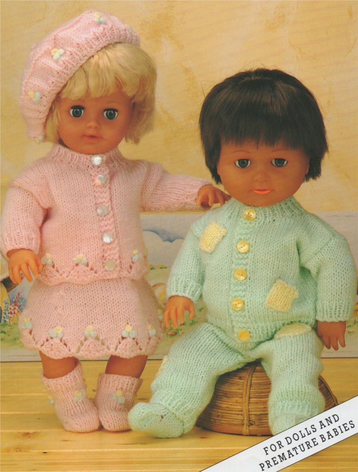 Dolls Clothes Knitting Pattern Pdf For 12 16 And 20 Inch Doll Baby Dolls Outfit Pattern Vintage Knitting Patterns For Dolls Download Baby Doll Clothes Patterns Baby Doll Clothes Doll Clothes