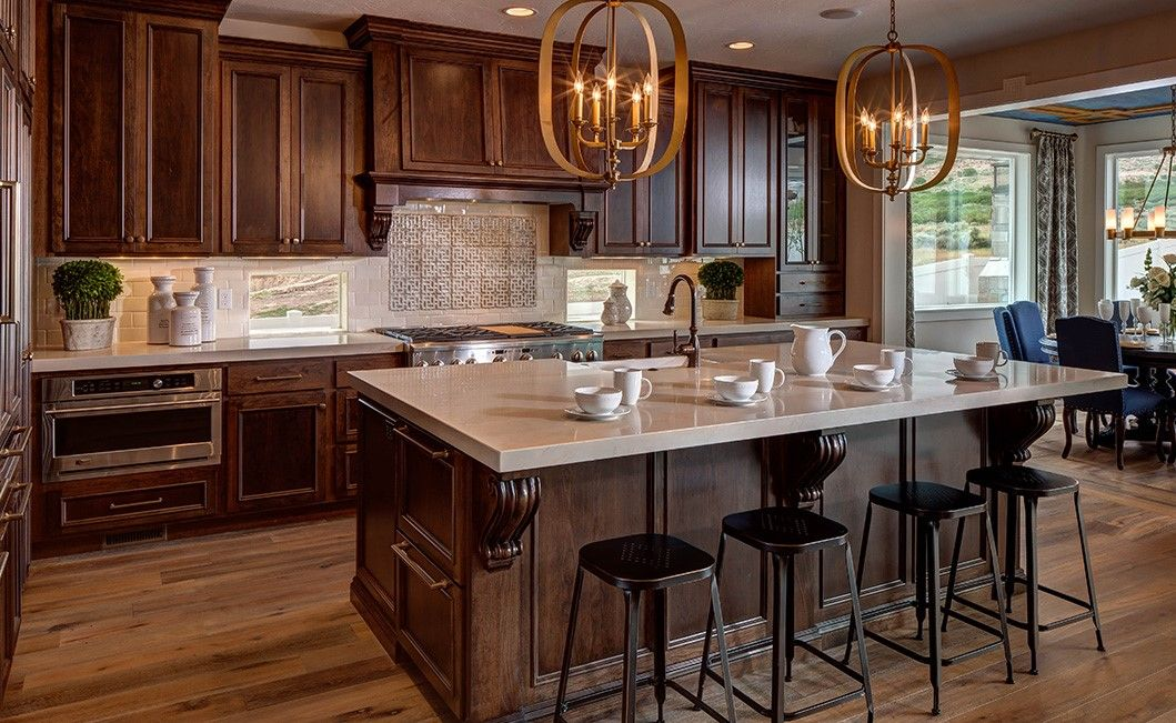 Gorgeous dark stained cabinets in this D.R. Horton Utah ...