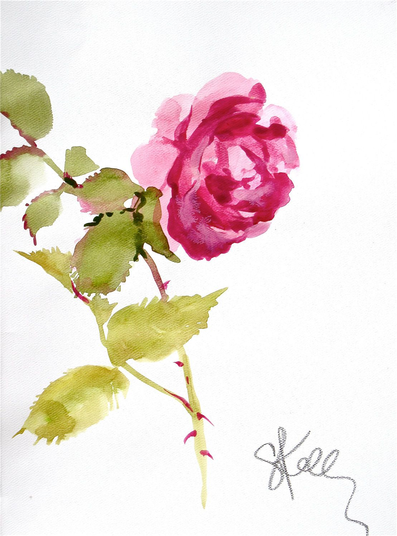 Pink Rose Stem Gretchen Kelly Watercolor Illustration