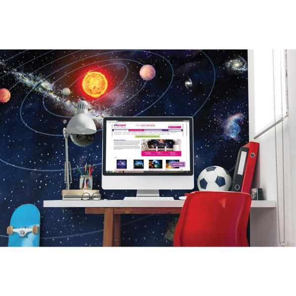 Brewster 118 In X 98 In Solar System Wall Mural Wals0077 The Home Depot Mural Wall Murals Solar System