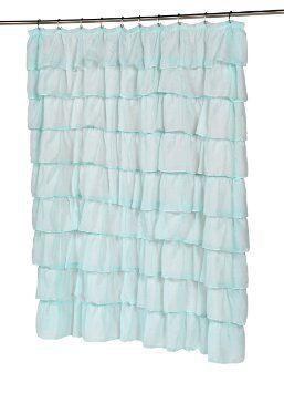Carnation Home Fashions Carmen Crushed Voile Ruffled Tier Shower Curtain 70 Inch By 72