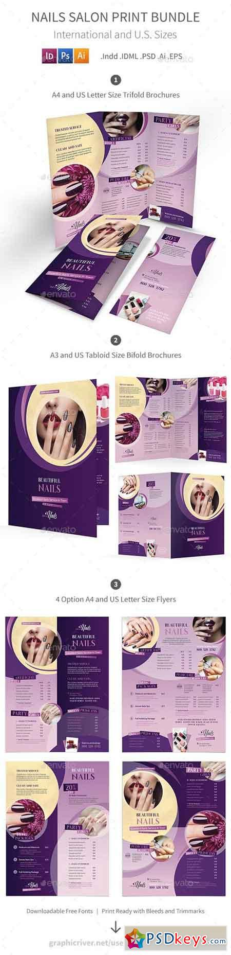 Nails Salon Print Bundle   Brochures    Nail