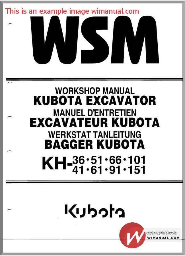 Kubota Excavator Kh 36 151 Workshop Manual (con imágenes)