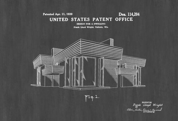 Frank lloyd wright house design patent decor patent print wall frank lloyd wright house design patent decor patent print wall decor frank lloyd wright house solutioingenieria Choice Image