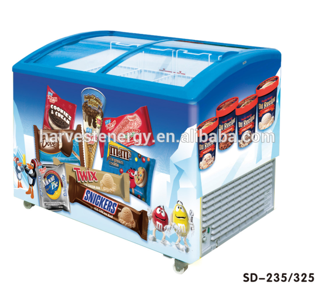 Source Sliding Glass Door Ice Cream Chest Display Freezer