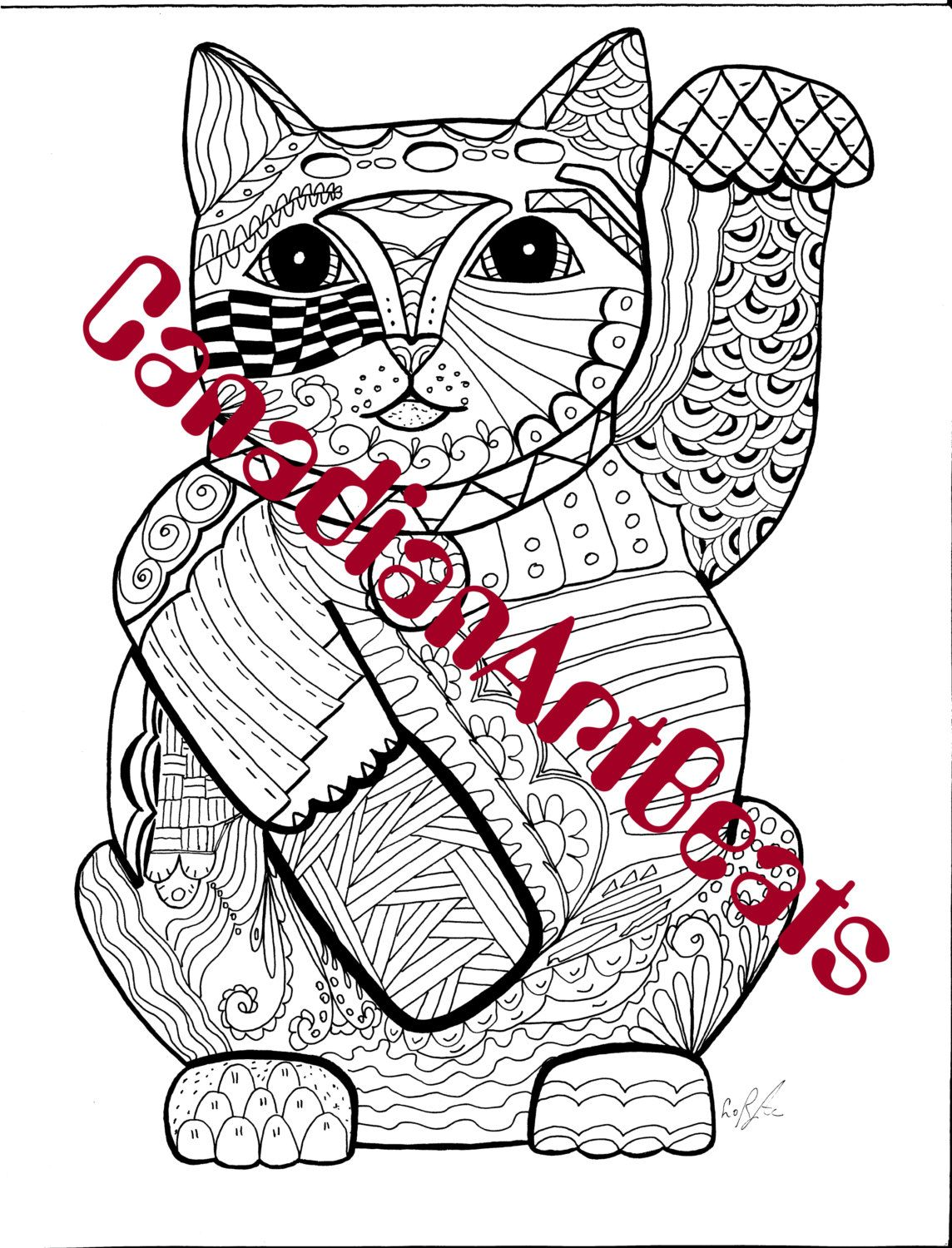 Printable coloring pages etsy - Printable Downloadable Makeni Neko Zentangle Inspired Coloring Page By Canadianartbeats On Etsy