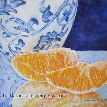 Blue White Ming Vase Orange Art Print Of Original Painting, Watercolor Fruit  Still Life Chinese Kitchen Decor Gift, Barbara Rosenzweig, Etsy