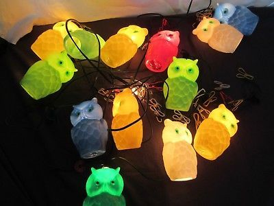 Vintage Plastic Mold Owl Party String Lights Camper Rv Patio Tiki Set Of 13